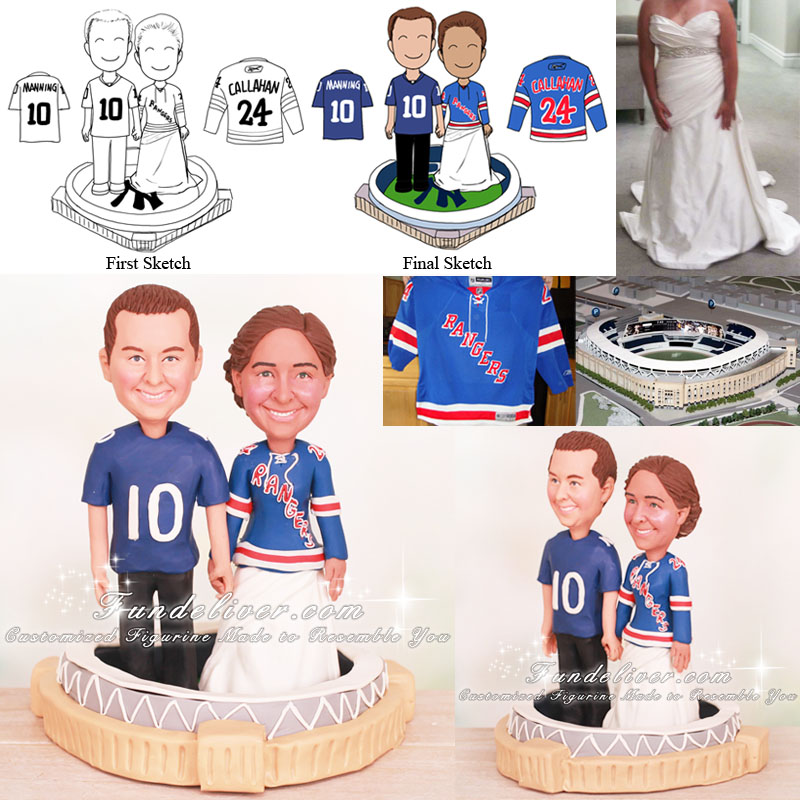 Couple Standing in Yankee Stadium Cake Toppers