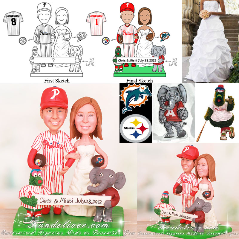 Football Cake Topper with Philly Phanatic and Big Al Mascots