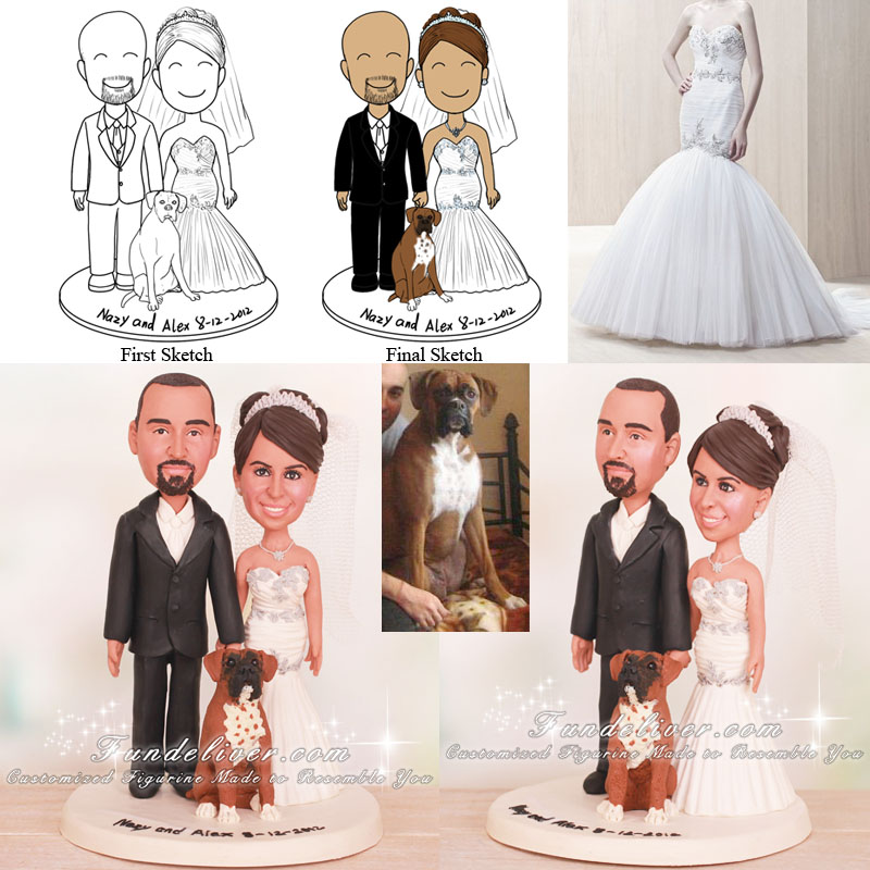 Bride and Groom Cake Topper with Pet Boxer