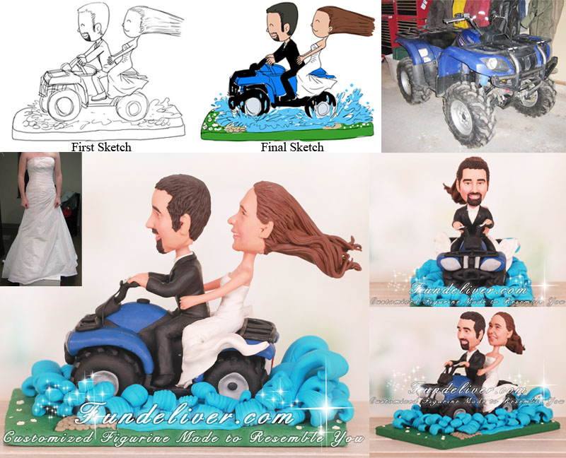 Riding Quad Zooming Through Creek Wedding Cake Toppers