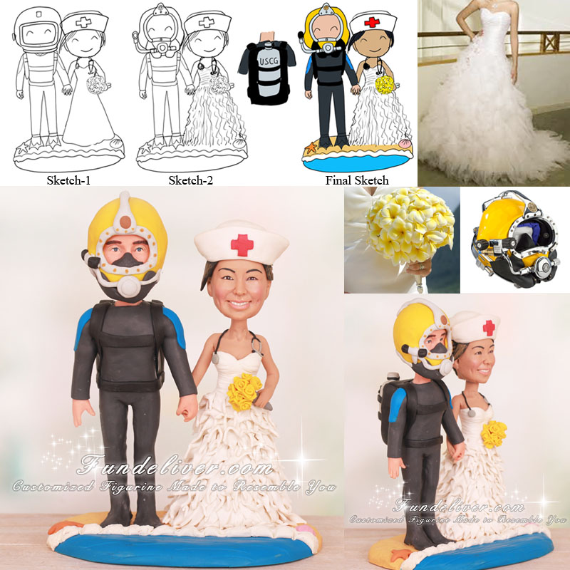 US Coast Guard Deep Sea Diver and Nurse Wedding Cake Toppers