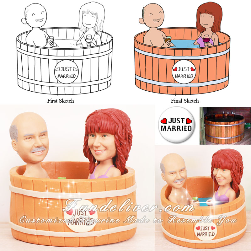 Hot Tub Wedding Cake Toppers